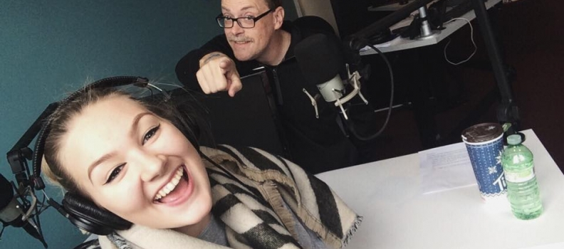 Julien visits 105.5 Hits FM for Bell Let's Talk Day